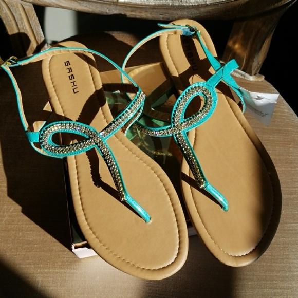8bdf2ec71652 Aqua Size 10 Bling Flat Sandals